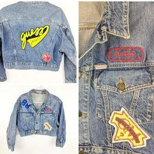 VTG Guess Jeans Cropped Spell Out  Patch Jacket